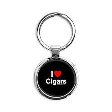 Cigars Round Keychain
