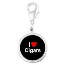 Cigars Silver Round Charm