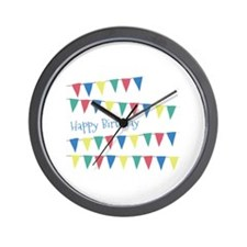 Birthday Banner Flags Wall Clock