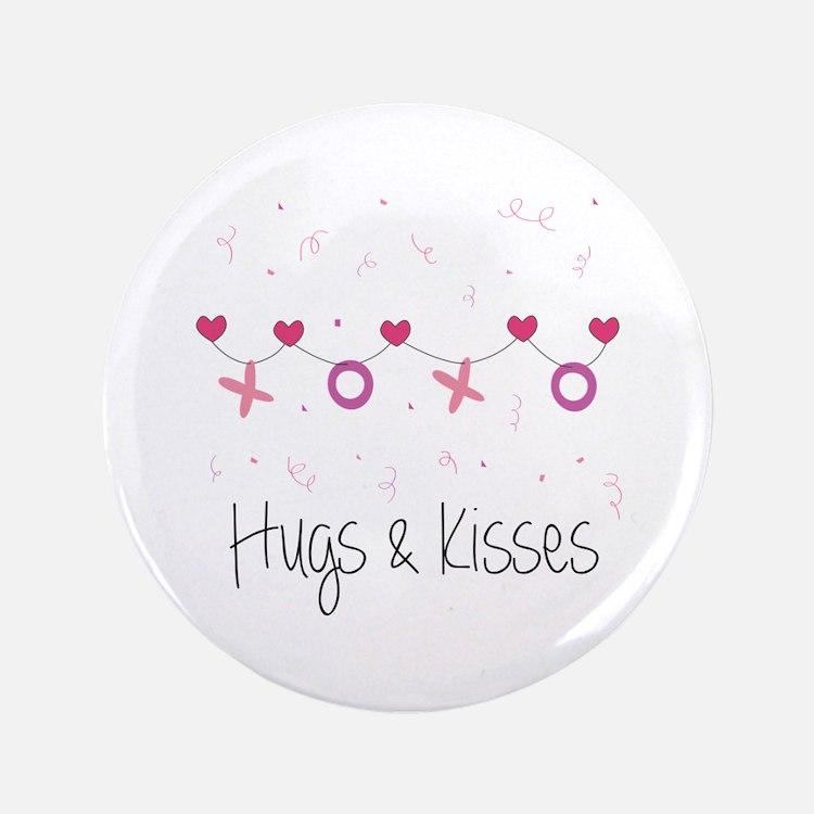 """Hugs Kisses 3.5"""" Button"""