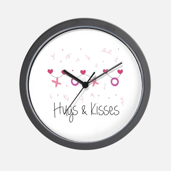 Hugs Kisses Wall Clock
