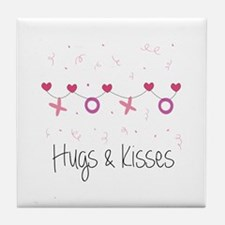 Hugs Kisses Tile Coaster