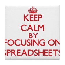 Keep Calm by focusing on Spreadsheets Tile Coaster