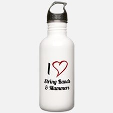 I Love Strings Bands and Mummers Water Bottle