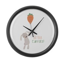 Eat Your Carrots Large Wall Clock
