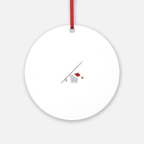 Santa Fishing Ornament (Round)