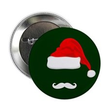"Santa Hat and Mustache 2.25"" Button (10 pack)"