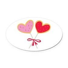 Heart Lollipop Oval Car Magnet