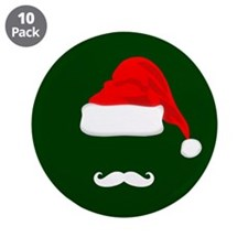 "Santa Hat and Mustache 3.5"" Button (10 pack)"