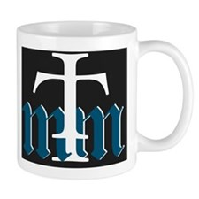 Three Merry Men blue on black with whit Mug