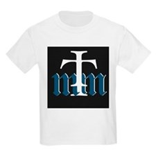 Three Merry Men blue on black with white T-Shirt