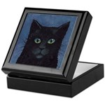 Black Cat Tile Top Keepsake Box