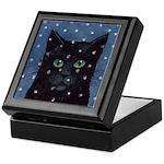 Black Cat Falling Snow Tile Top Keepsake Box