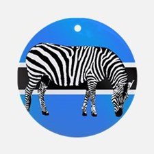 Botswana Zebra Flag Ornament (Round)