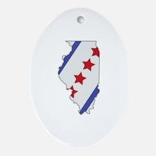Illinois Map Ornament (Oval)