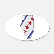 Illinois Map Oval Car Magnet