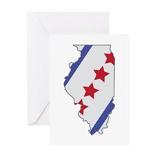 Illinois Map Greeting Cards