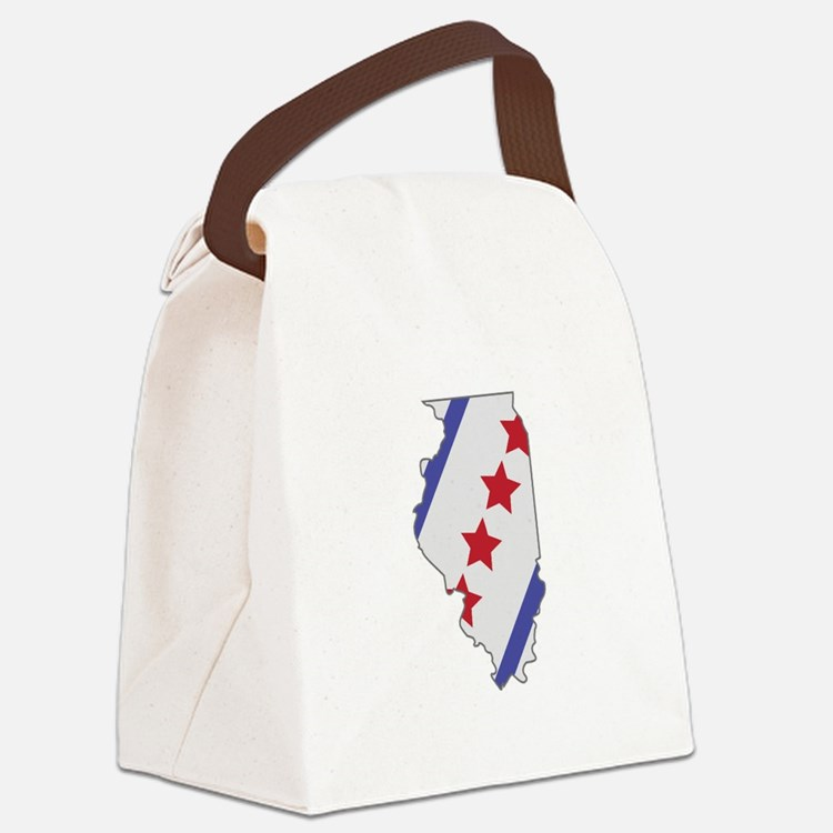 Illinois Map Canvas Lunch Bag
