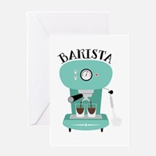 Coffee Machine Barista Greeting Cards