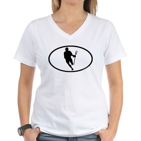 Lacrosse IRock Oval Women's V-Neck T-Shirt