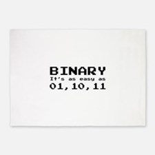 Binary It's As Easy As 01,10,11 5'x7'Area Rug