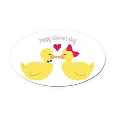 Valentines Ducks Oval Car Magnet