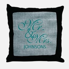 Personalized Mr. Mrs. Wedding Throw Pillow