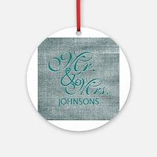 Personalized Mr. Mrs. Wedding Ornament (Round)