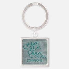 Personalized Mr. Mrs. Wedding Square Keychain