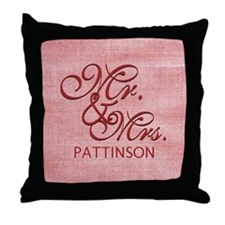 Personalized Family Name Mr and Mrs Throw Pillow