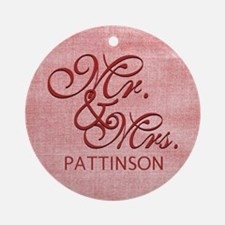 Personalized Family Name Mr and M Ornament (Round)