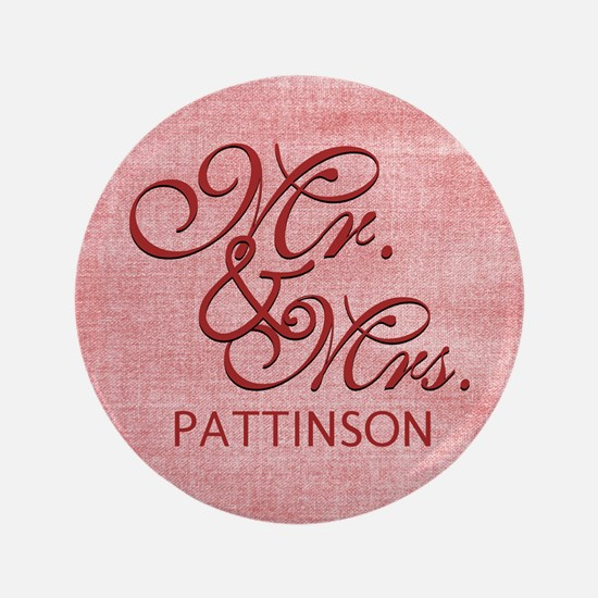 """Personalized Family Name Mr and Mrs 3.5"""" Button"""