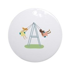 Kids Playground Swing Set Ornament (Round)