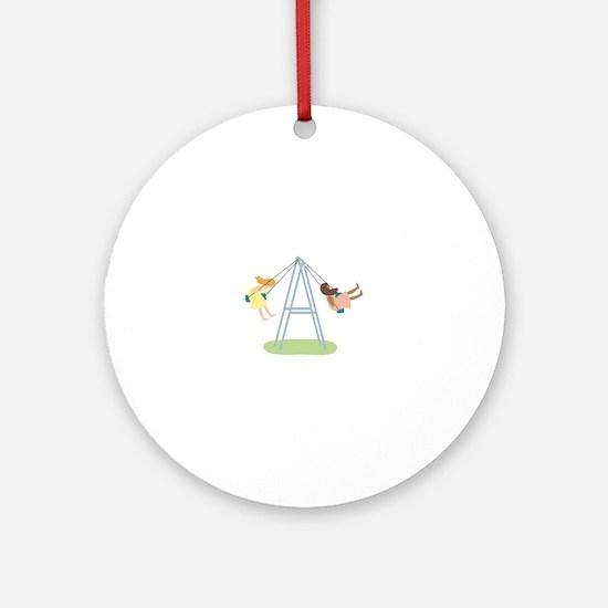 Kids Playground Swing Set Ornament (Round)