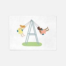 Kids Playground Swing Set 5'x7'Area Rug