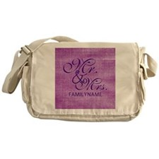 Purple Magenta Csutom Mr and Mrs Messenger Bag