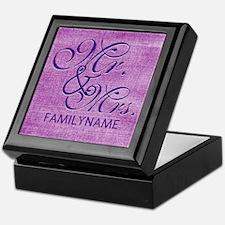 Purple Magenta Csutom Mr and Mrs Keepsake Box