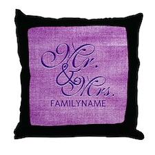 Purple Magenta Csutom Mr and Mrs Throw Pillow