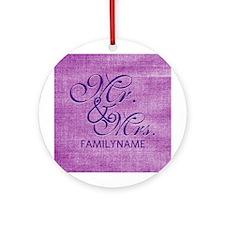 Purple Magenta Csutom Mr and Mrs Ornament (Round)