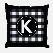 Letter K Monogram Gingham Throw Pillow