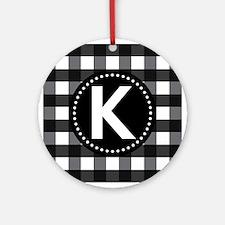 Letter K Monogram Gingham Ornament (Round)