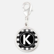Letter K Monogram Gingham Silver Round Charm