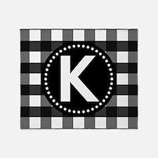 Letter K Monogram Gingham Throw Blanket