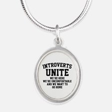 Introverts Unite Silver Oval Necklace