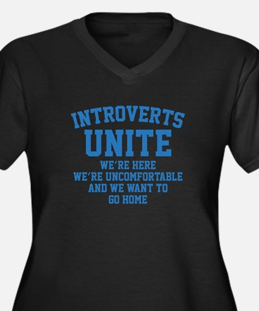 Introverts Unite Women's Plus Size V-Neck Dark T-S