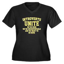 Introverts Unite Women's Plus Size V-Neck Dark T-S
