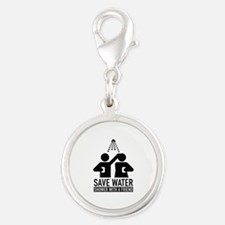 Save Water Shower With A Friend Silver Round Charm
