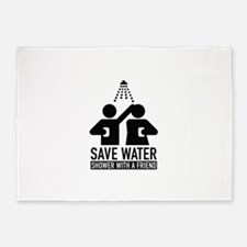 Save Water Shower With A Friend 5'x7'Area Rug