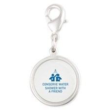 Conserve Water Shower With A Friend Silver Round C