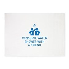Conserve Water Shower With A Friend 5'x7'Area Rug